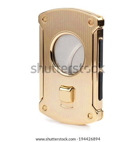Gold cigar cutter isolated on white background. - stock photo