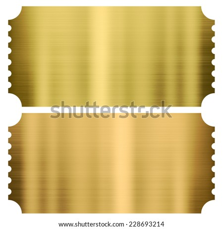 gold cinema or theather tickets set isolated on white - stock photo