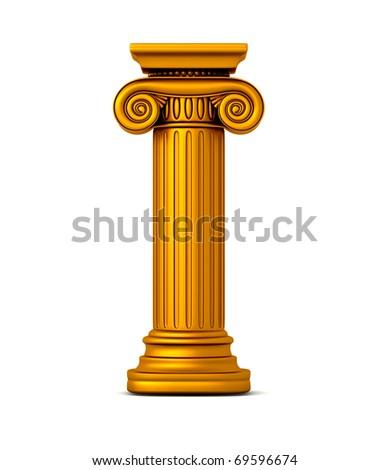 Gold Classic Column - stock photo