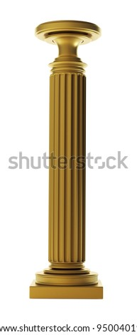 Gold Classic Column isolated on wihte  background High resolution 3D