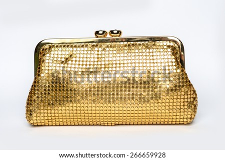 gold clutch on a white background - stock photo