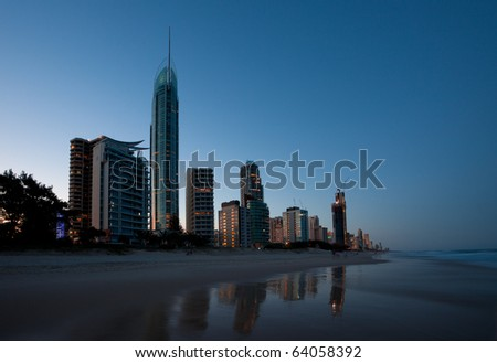 Gold Coast at dusk, featuring Q1 tower and Soul tower - stock photo