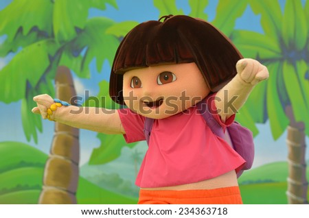 GOLD COAST, AUS -  NOV 06 2014:Dora the Explorer.Dora the Explorer featured the first animated Latina character in a leading role in children's television. - stock photo
