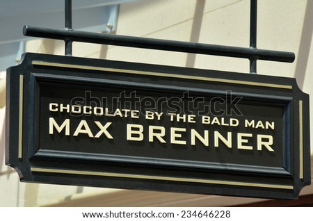 GOLD COAST, AUS - NOV 09 2014:Max Brenner store. is a worldwide chocolate restaurant and retail brand headquartered in Ra'anana, Israel.