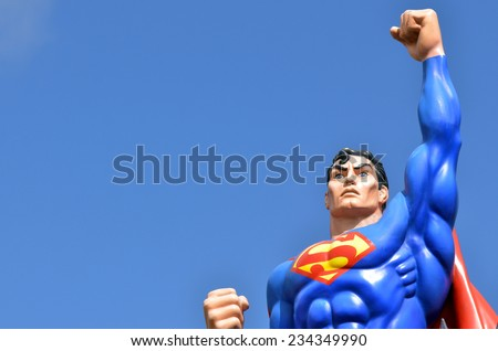 GOLD COAST, AUS - NOV 20 2014:Superman.He's a comic book superhero published by DC Comics.He is an American cultural icon and has been labeled as the greatest comic book hero of all time by IGN - stock photo