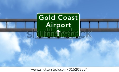 Gold Coast Australia Airport Highway Road Sign 3D Illustration