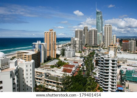 Gold Coast, Australia - Apr 11: View over the Surfers Paradise area of the Gold Coast, Queensland on April 11th 2007.