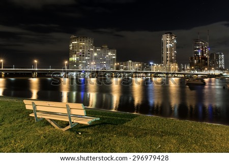 GOLD COAST, AUSTRALIA - FEBRUARY 27 2015: Southport and surrounds looking over the Nerang River from Waterworks Drive