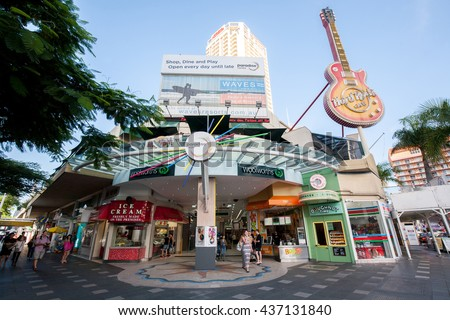 GOLD COAST, AUSTRALIA - MAY 06: Surfers Paradise, It's a one of the most popular holiday place. The suburb has many high-rise apartment buildings, restaurant and a wide surf beach on May 06, 2016