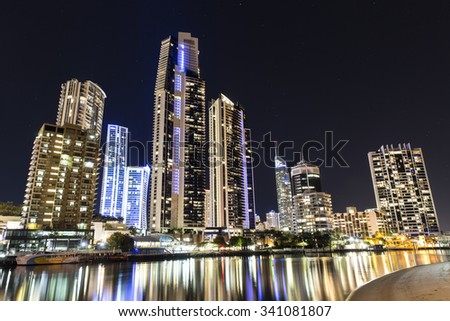 GOLD COAST, AUSTRALIA - OCTOBER 6 2015: Surfers Paradise cityscape by night