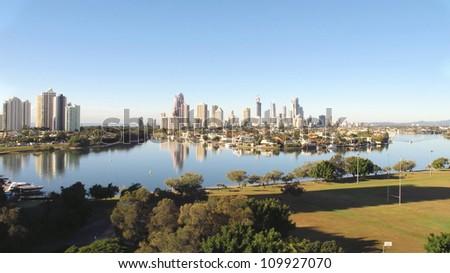 Gold Coast City early morning 2 - stock photo