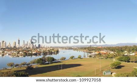 Gold Coast City, Nerang River and Hinterland - stock photo