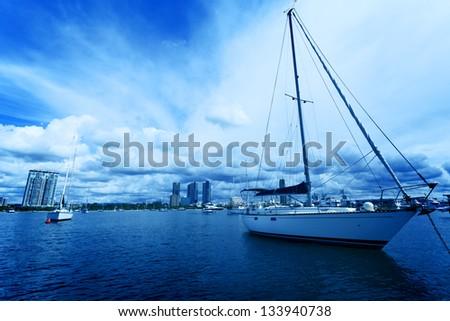 Gold Coast coastline, yacht - stock photo