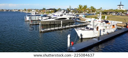 GOLD COAST - OCT 14 2014:Luxury homes and super yachts in Sovereign Islands.It's one of the most expensive areas in Gold Coast Queensland and Australia with some homes in excess of 20 million dollars.
