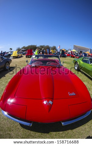 """Gold Coast, QLD - SEPTEMBER 16:  Chevy Corvettes and others on display at the Gold Coast  """"Corvettes on Display""""  classic car show at Gold Coast QLD , Australia  September 16, 2013.  - stock photo"""