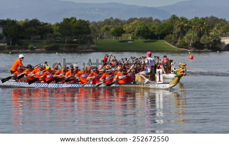 GOLD COAST, QUEENSLAND, AUSTRALIA-1st FEBRUARY 2015:-Dragon boat racing is a competitive team sport taking place at Emerald lakes, Gold Coast - stock photo