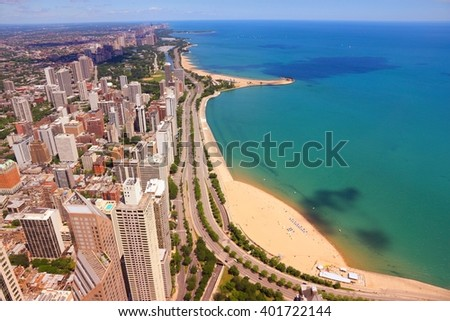Gold Coast scenic view, Chicago, USA. Filtered colors style.