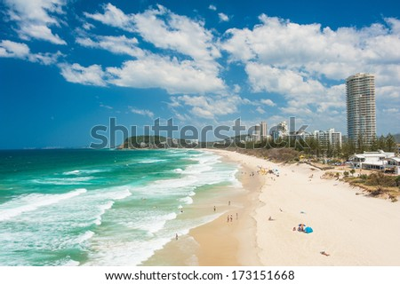 Gold Coast with a beach full of tourists seen from above. Queensland, Australia - stock photo