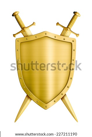 gold coat of arms medieval knight shield and swords isolated on white - stock photo