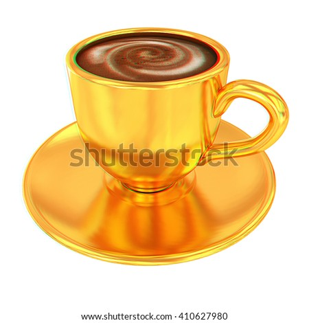 Gold coffee cup on saucer on a white background . 3D illustration. Anaglyph. View with red/cyan glasses to see in 3D. - stock photo