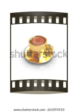 Gold coffee cup on saucer on a white background. The film strip - stock photo