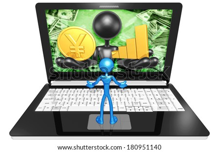 Gold Coin And Bar Graph On A Laptop - stock photo