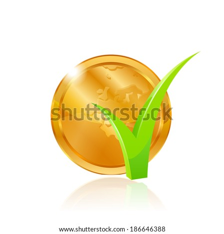Gold coin and green checkmark. Raster copy. - stock photo