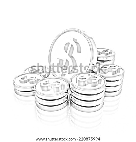 gold coin ctack on a white background. Pencil drawing  - stock photo