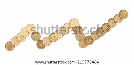 Gold Coin Graph - stock photo