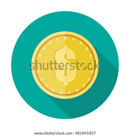 Gold coin icon with dollar currency symbol. illustration in flat style