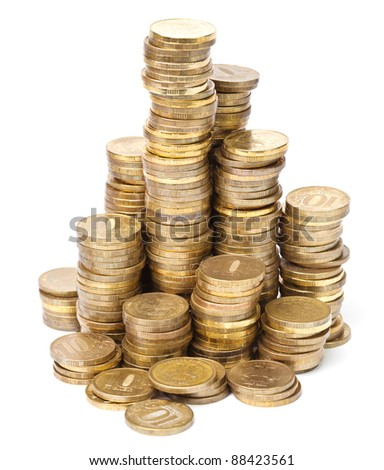 Gold coin in towers on white background - stock photo