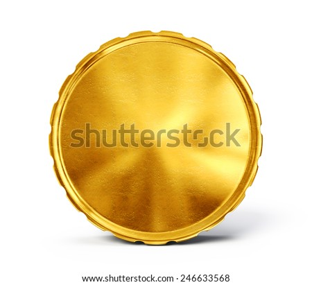 gold coin isolated on a white. 3d illustration - stock photo