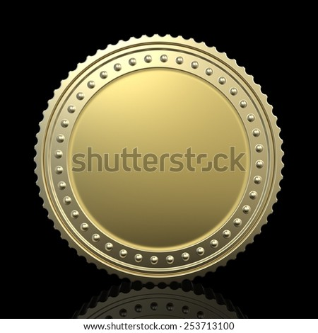gold coin isolated on black background - stock photo