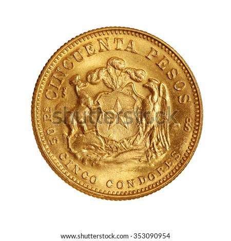 gold coin 50 pesos chile - stock photo