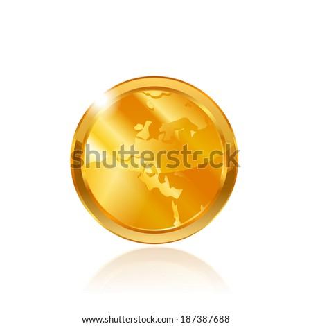 Gold coin. Raster copy. - stock photo