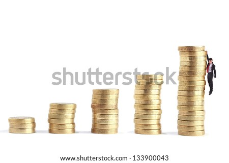 gold coin stack arrange growing up on white background