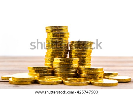 gold coin stack isolated on white background - stock photo