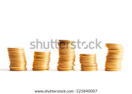 Gold coin stack isolated on white. Studio shot