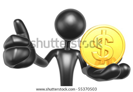 Gold Coin Thumbs Up - stock photo