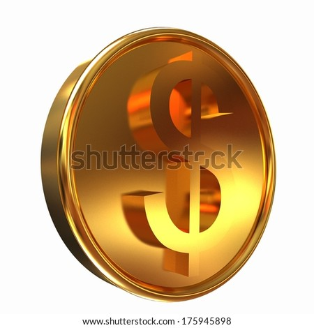 Gold coin with dollar sign - stock photo