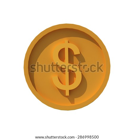 Gold coin with dollar sign, 3d icon on a white background - stock photo