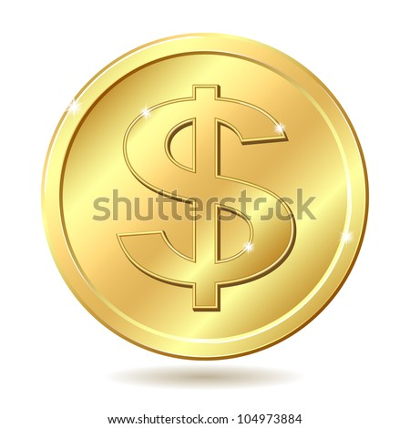 Gold coin with dollar sign. Raster illustration isolated on white background - stock photo