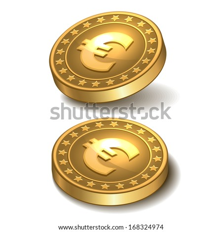 Gold coin with euro sign.