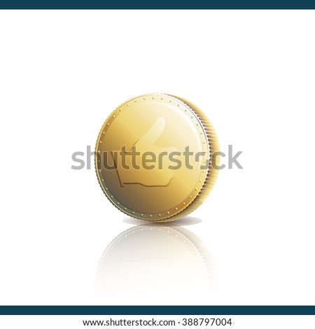 Gold coin with Like symbol. Thumb up on gold coin - raster image