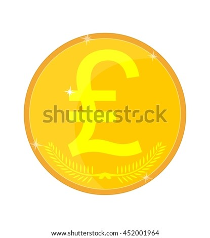 Gold coin with the image of the lira, pound, livery. Stock illustration.