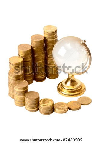 Gold coins and crystal globe isolated on a white background - stock photo