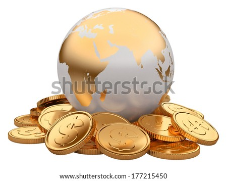 Gold coins and Earth isolated on white background. business concept - stock photo