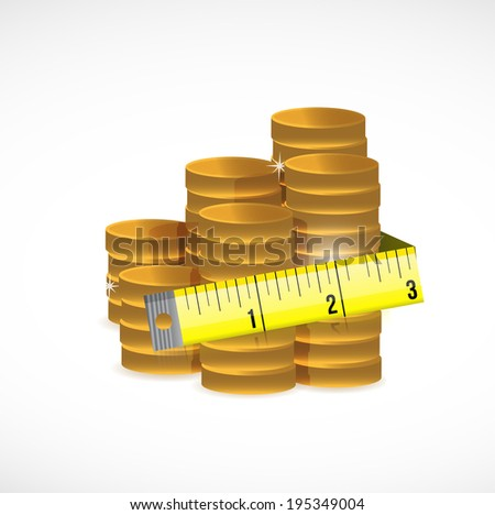 gold coins and measure tape illustration design over a white background
