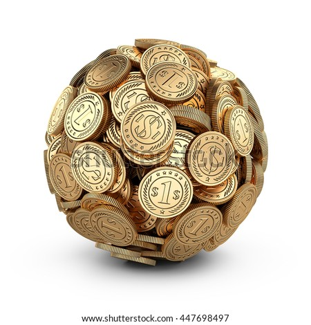 Gold coins assembled in a form sphere isolated on white background. Business success concep.