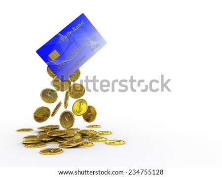 Gold coins drop out of a plastic credit card - stock photo